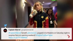 'Captain Marvel' star Brie Larson surprises moviegoers in costume
